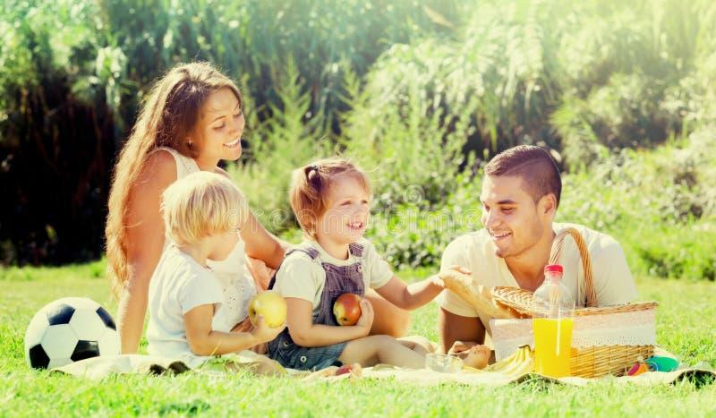 Bambini europei del familywith che hanno picnic immagini stock libere da diritti