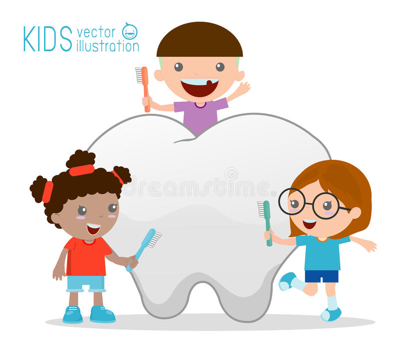 Bambini facendo uso di uno spazzolino da denti per pulire un dente gigante, illustrazione dei bambini che puliscono un dente, ill illustrazione di stock