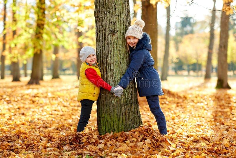 Bambini felici al tronco di albero nel parco di autunno fotografia stock