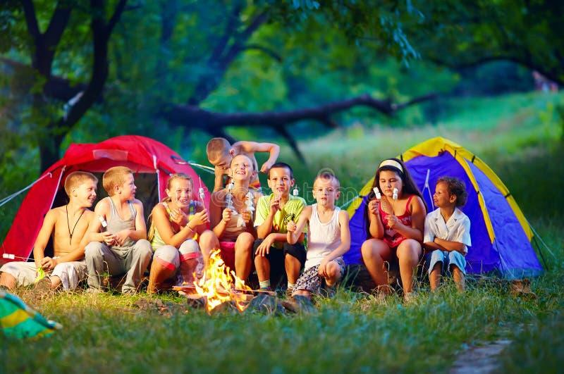 Bambini felici che arrostiscono le caramelle gommosa e molle su fuoco di accampamento fotografia stock