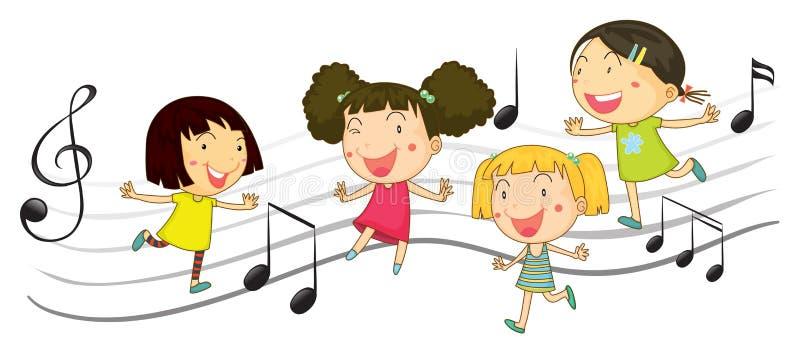 Bambini felici che ballano con le note di musica nel fondo illustrazione di stock