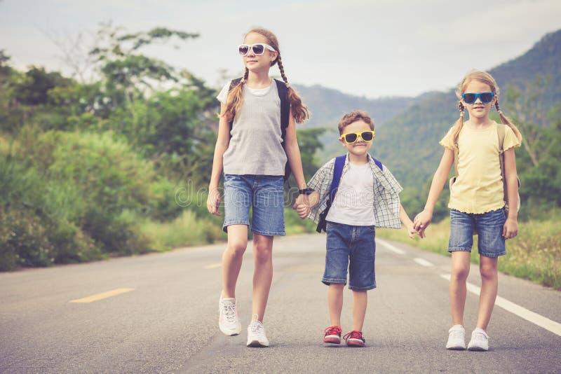 Bambini felici che camminano sulla strada immagine stock