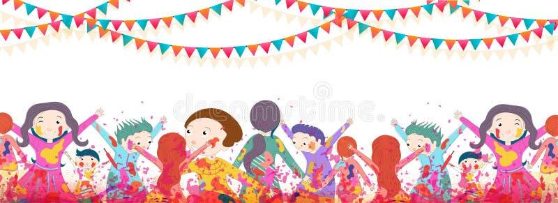 Bambini felici che celebrano festival di holi con pieno di gioia, festival dell'intestazione di celebrazione di colori illustrazione di stock