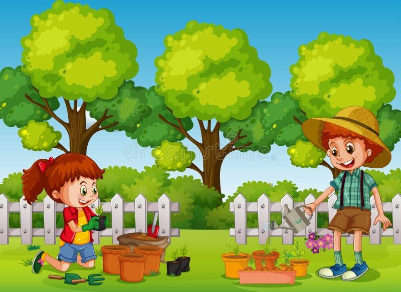 Bambini felici che fanno il giardinaggio nel parco illustrazione vettoriale