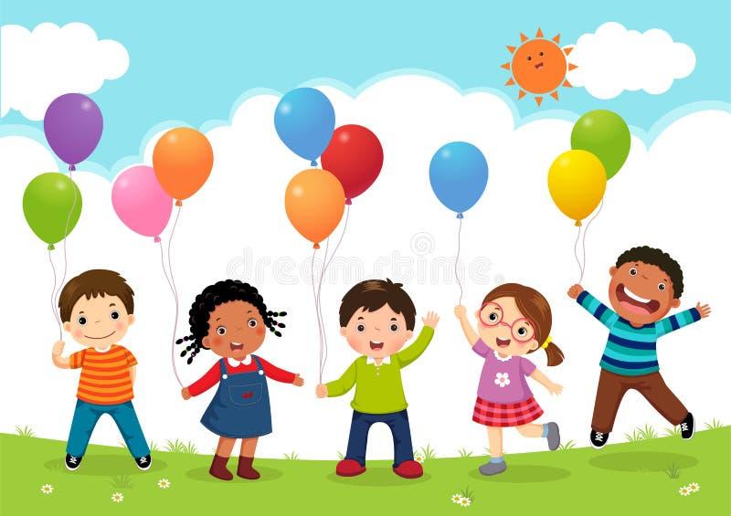 Bambini felici che saltano insieme e che tengono i palloni royalty illustrazione gratis