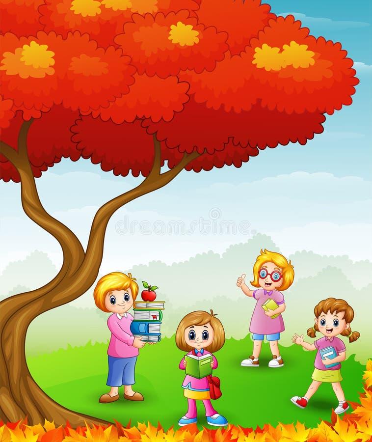 Bambini felici che studiano negli alberi di autunno illustrazione di stock