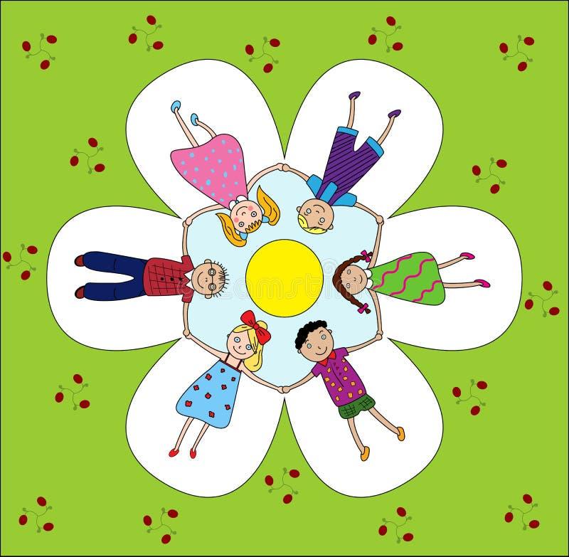 Bambini felici che tengono le mani illustrazione vettoriale