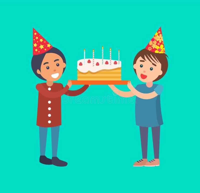 Bambini felici che tengono torta di compleanno con le candele illustrazione di stock