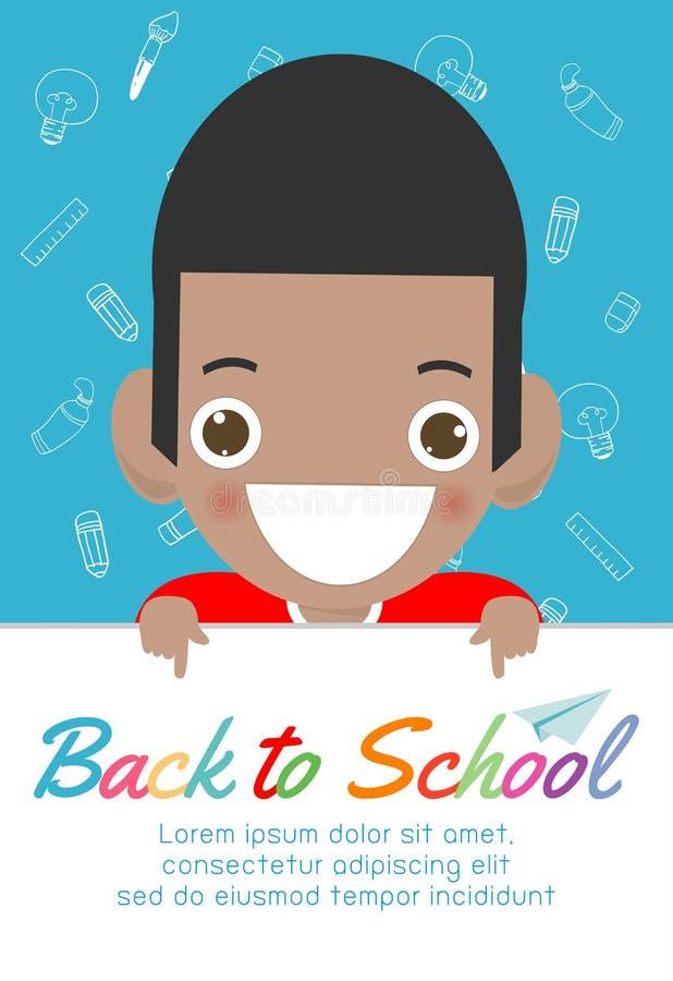 Bambini felici con il grande bordo del segno Di nuovo al fondo dell'insegna di scuola Bambini svegli della scuola concetto di ist illustrazione di stock