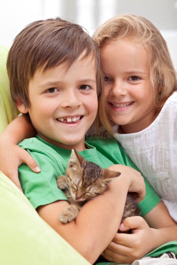 Bambini felici con il loro nuovo animale domestico - un piccolo gattino fotografia stock libera da diritti