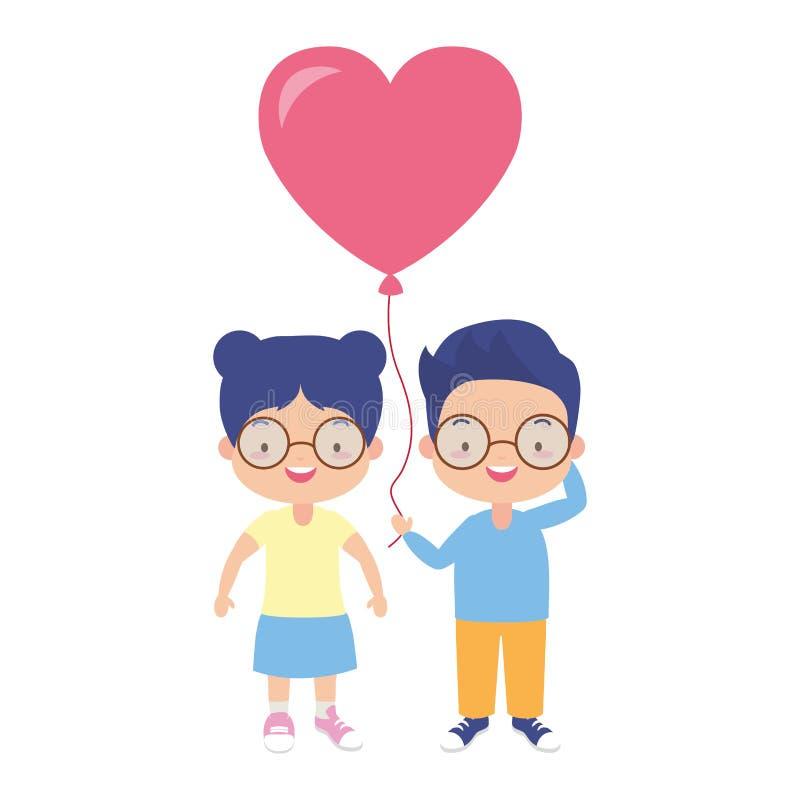Bambini felici con il pallone royalty illustrazione gratis