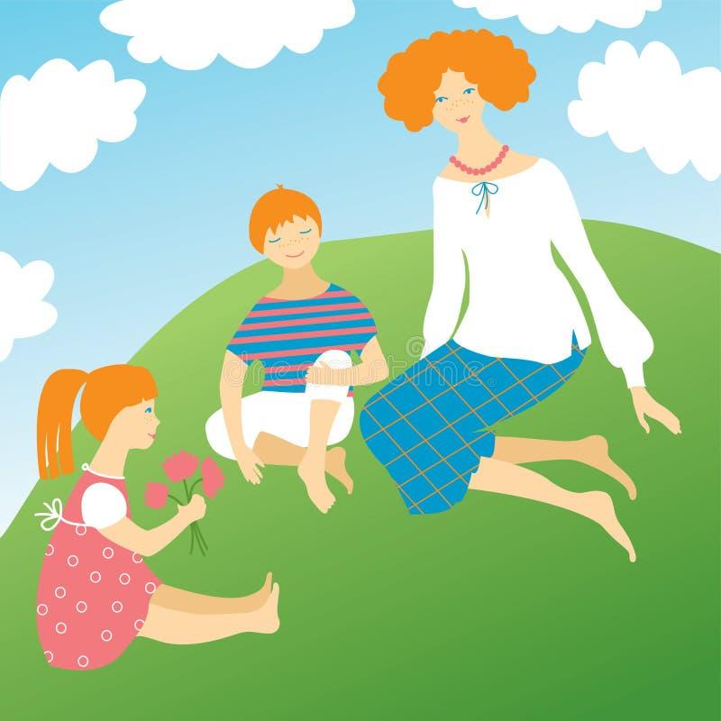 Bambini felici con la loro madre illustrazione di stock