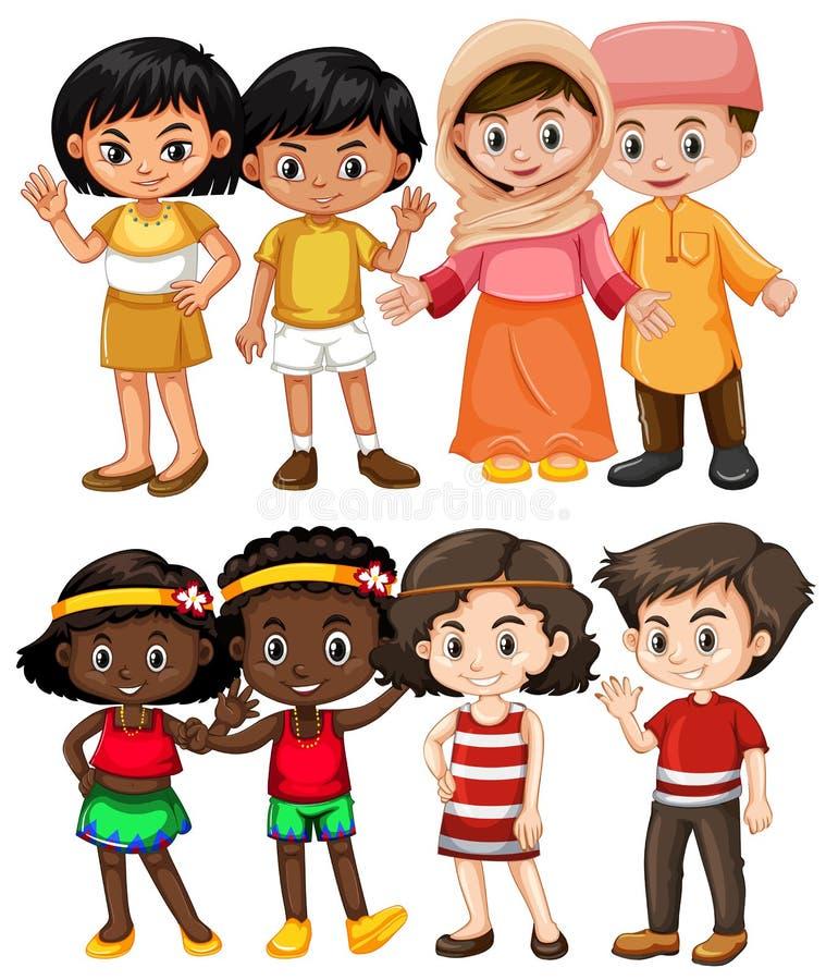 Bambini felici dai paesi differenti illustrazione di stock