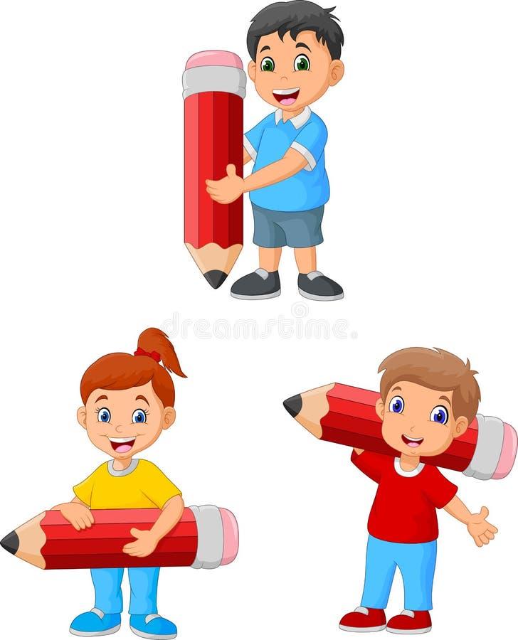 Bambini felici del fumetto che tengono le grandi matite royalty illustrazione gratis