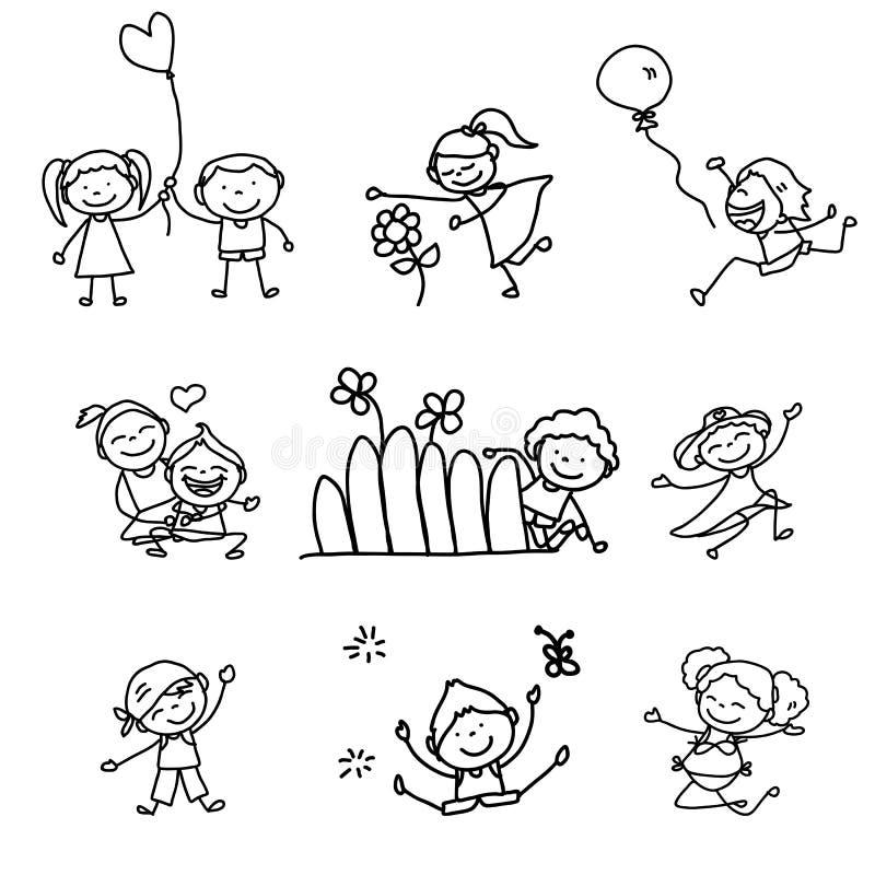 Bambini felici del fumetto disegno della mano