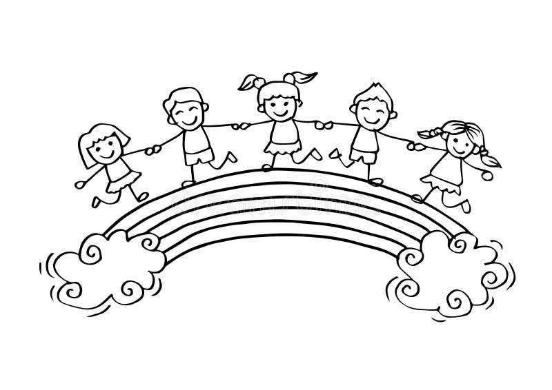 Bambini felici del fumetto sull'arcobaleno royalty illustrazione gratis