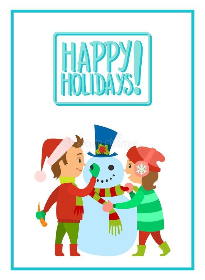 Bambini felici di feste che fanno vettore del pupazzo di neve royalty illustrazione gratis
