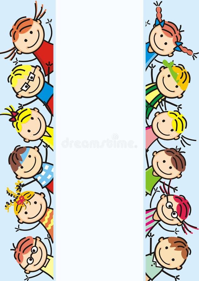 Bambini felici, insegna illustrazione di stock