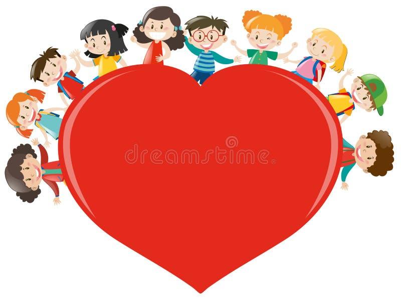 Bambini felici intorno a cuore rosso illustrazione di stock