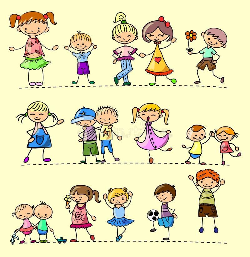 Bambini felici stabiliti illustrazione vettoriale