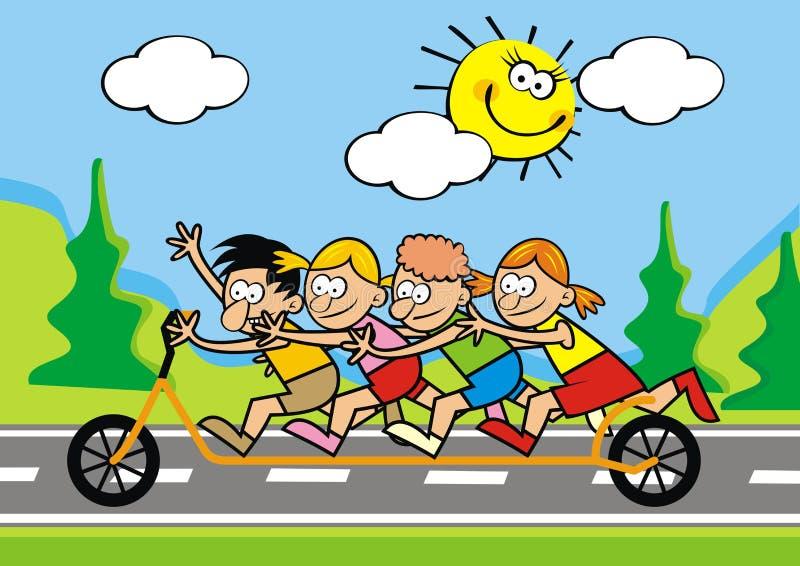 Bambini felici sul motorino di spinta, cartolina divertente di vettore illustrazione vettoriale