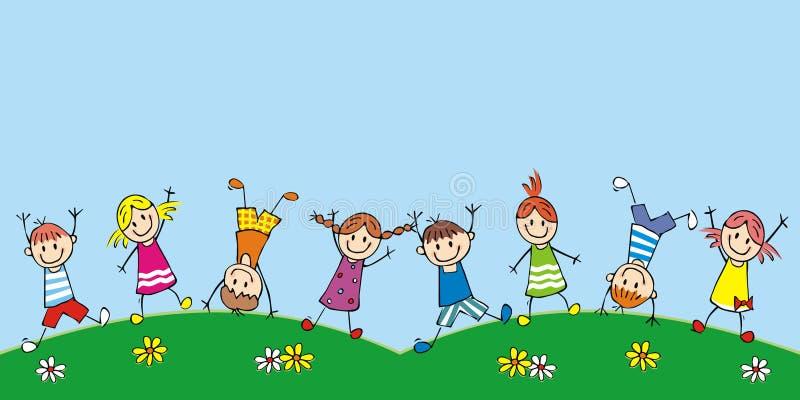 Bambini felici sul prato, icona divertente di vettore illustrazione di stock