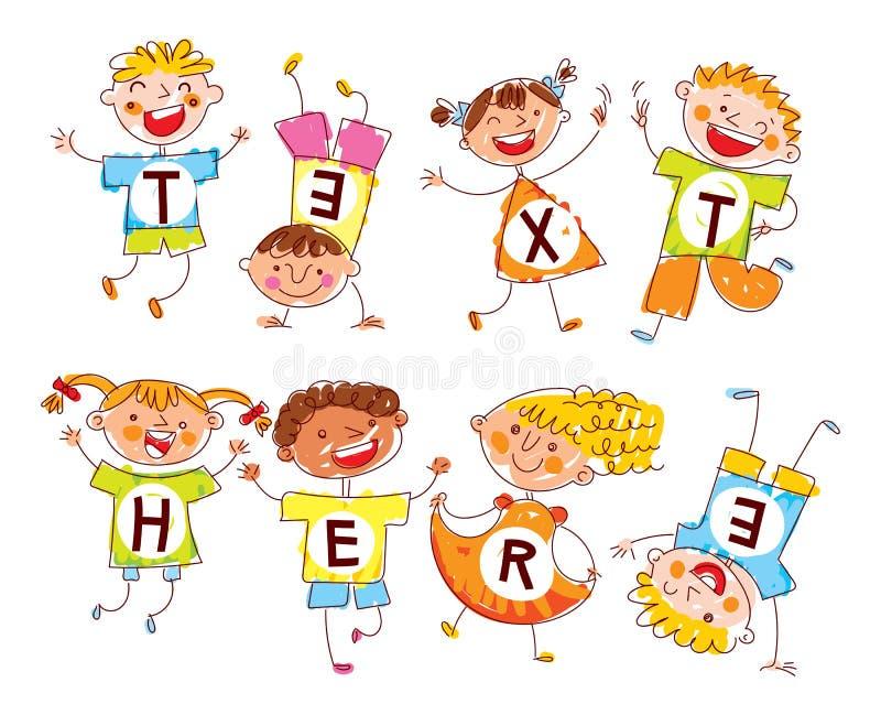 Bambini felici svegli E Spazio per testo illustrazione vettoriale