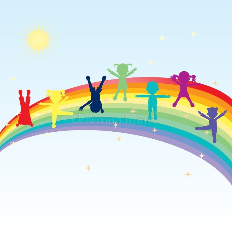 Bambini felici variopinti che si levano in piedi su un Rainbow royalty illustrazione gratis