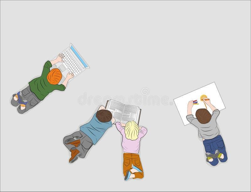 Bambini felici Vista superiore Ogni bambino è occupato con il loro proprio affare lettura del libro, disegno, funzionamento con u illustrazione di stock