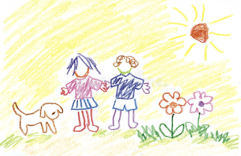 Bambini, fiori, cane e sole illustrazione vettoriale
