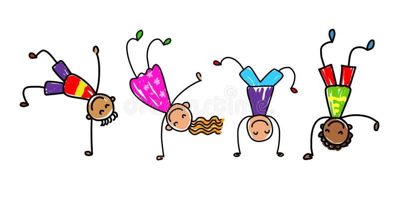 Bambini Funky Il fumetto scherza l'illustrazione di vettore illustrazione vettoriale