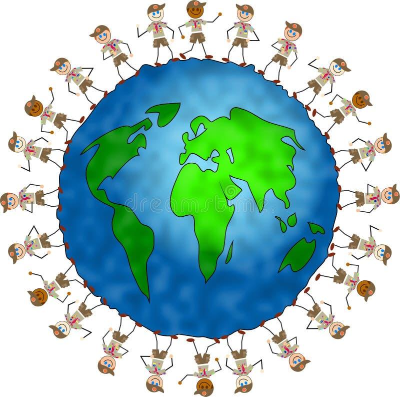 Bambini globali dell'esploratore royalty illustrazione gratis