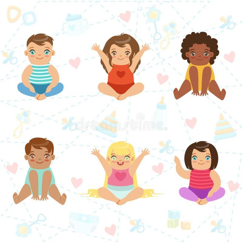 Bambini Grande osservati adorabili che si siedono e che sorridono, insieme dei caratteri infantili felici del fumetto illustrazione di stock