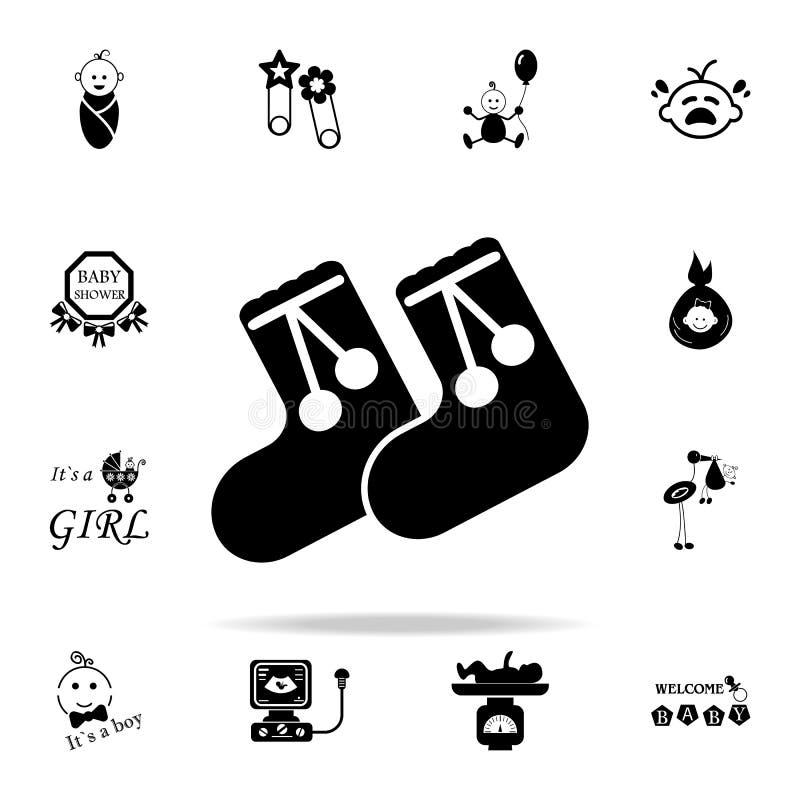 bambini \ 'icona calda dei calzini di s Insieme universale delle icone del bambino per il web ed il cellulare illustrazione vettoriale