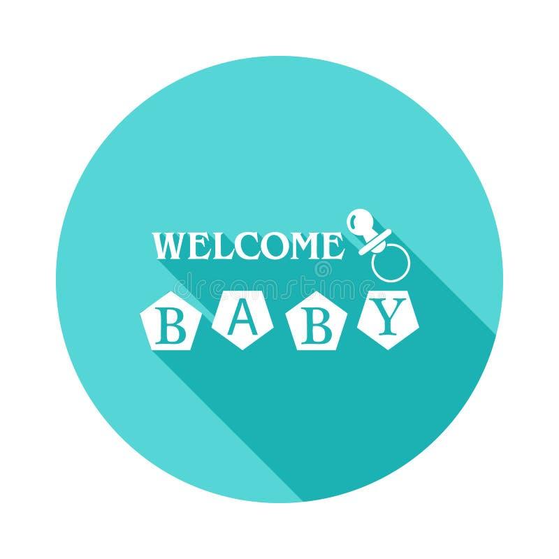 bambini \ 'icona di benvenuto dell'iscrizione di s in ombra lunga piana Uno dell'icona della raccolta del bambino può essere usat illustrazione vettoriale