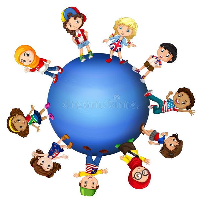 Bambini intorno al mondo royalty illustrazione gratis