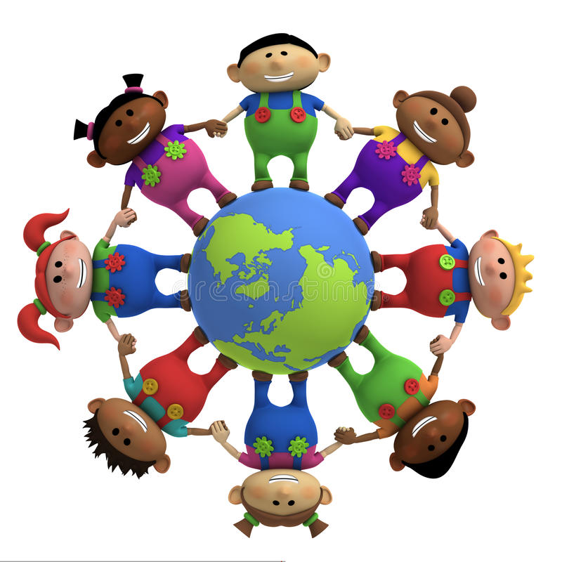 Bambini intorno alle mani della holding del globo illustrazione di stock
