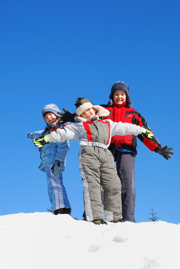 Bambini in inverno fotografia stock