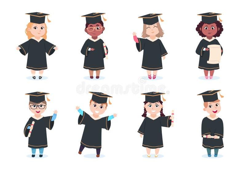 Bambini laureati Bambini di laurea della scuola materna di asilo in cappuccio di graduazione con i personaggi dei cartoni animati illustrazione vettoriale