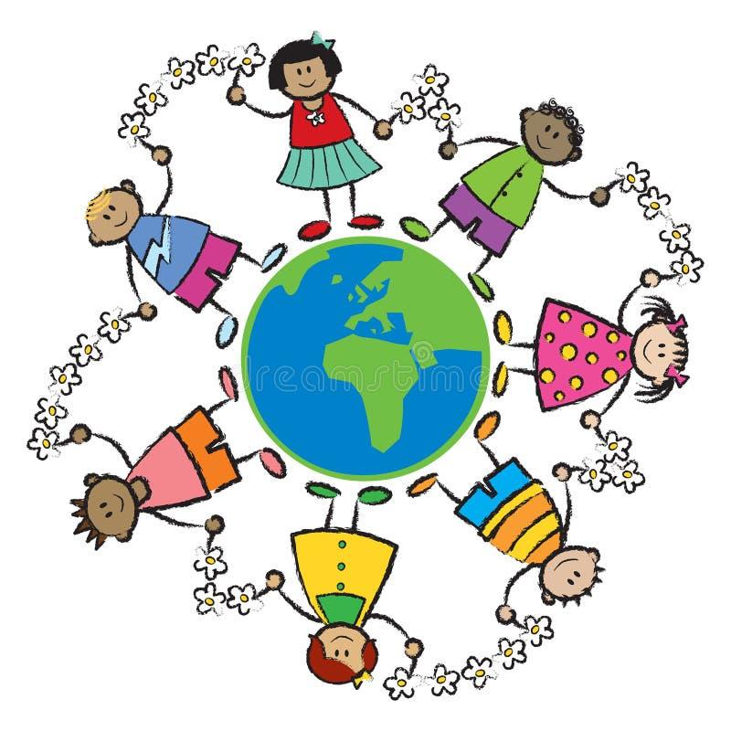 Bambini, mondo, EURO dell'pace-AFRICA illustrazione vettoriale