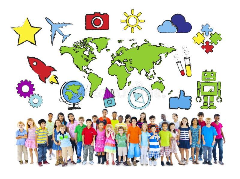 Bambini Multi-etnici con il concetto del mondo illustrazione vettoriale