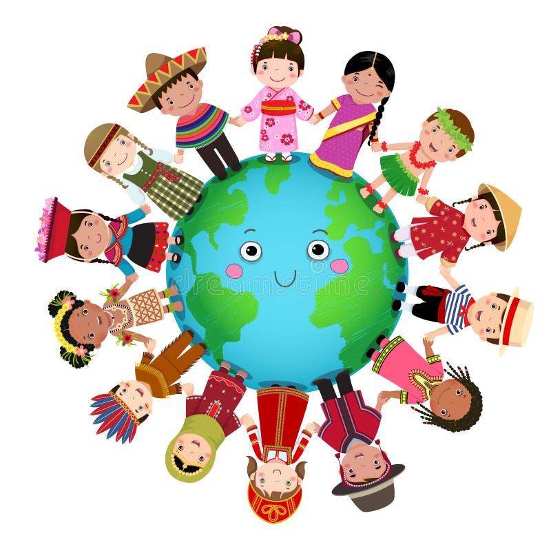 Bambini multiculturali che tengono mano intorno al mondo illustrazione vettoriale