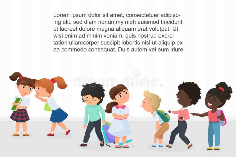 Bambini multirazziali dei bambini che opprimono, indicanti e ridenti dei compagni di classe turbati nell'illustrazione di vettore illustrazione di stock