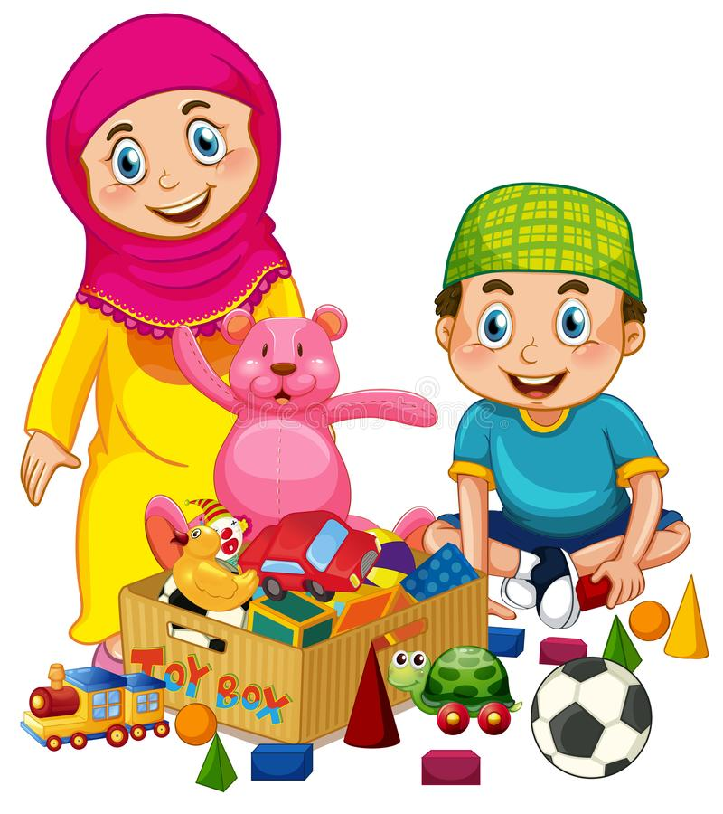 Bambini musulmani che giocano giocattolo royalty illustrazione gratis