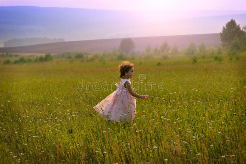 Bambini in natura Una bambina con i riccioli in un vestito rosa immagini stock