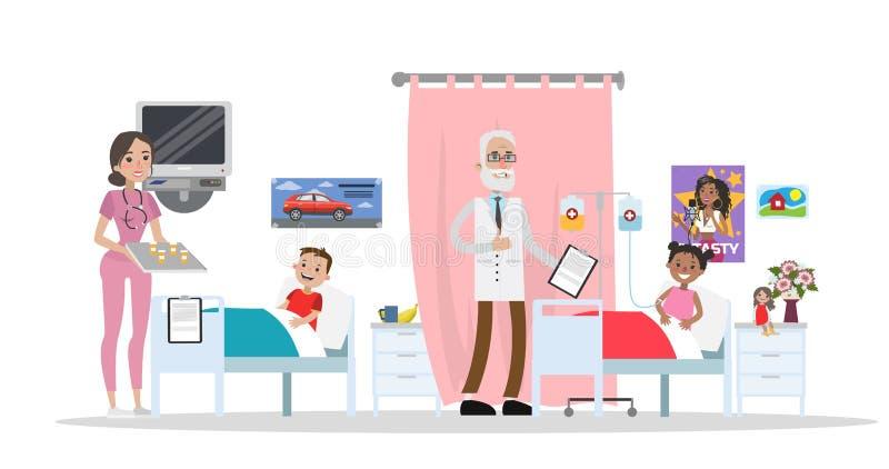 Bambini nei letti di ospedale illustrazione di stock