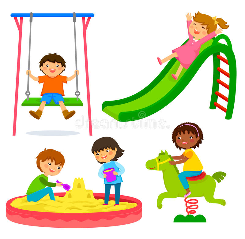 Bambini nel campo da giuoco illustrazione vettoriale
