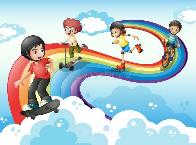 Bambini nel cielo che gioca con l'arcobaleno illustrazione vettoriale