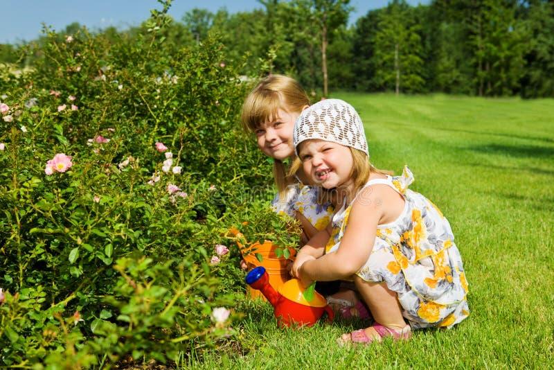 Bambini nel giardino immagini stock