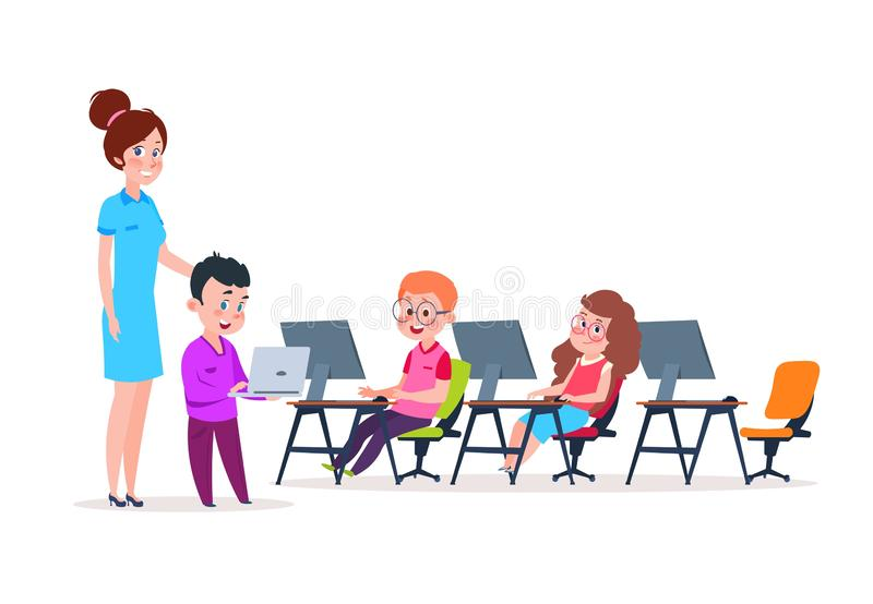 Bambini nel laboratorio del calcolatore Scolari che codificano ai computer Ragazzi e girs del fumetto che imparano nuova tecnolog illustrazione vettoriale